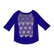by&by Girl Crochet Raglan Tee - Girls 7-16