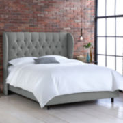 Bristol Linen Tufted Wingback Bed