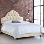 Belfort Upholstered Linen Arched Tufted Bed