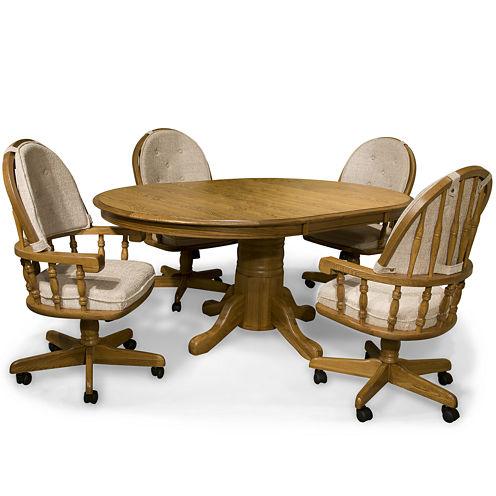 "Oakmont 48"" Pedestal 5-pc. Dining Set - Swivel Chairs"
