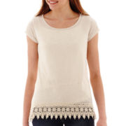 Rewind Short-Sleeve Crochet-Hem Tunic