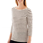 Stylus™ 3/4-Sleeve Striped Boatneck T-Shirt