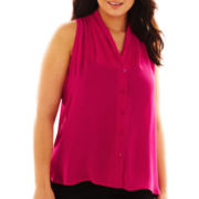 Worthington® Sleeveless Pleated Button-Front Blouse - Plus