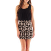 by&by Sleeveless Aztec Two-Tone Blouson Dress