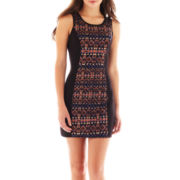 by&by Sleeveless Aztec Bodycon Dress