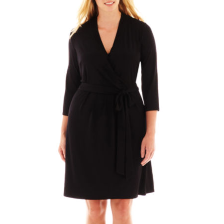 Liz Claiborne 3/4-Sleeve Faux-Wrap Dress - Plus