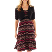 Perceptions Chevron Print Dress with Jacket – Petite