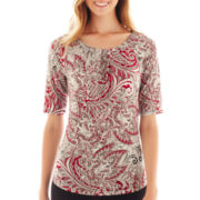 Liz Claiborne Elbow-Sleeve Pleated-Front Knit Top - Tall