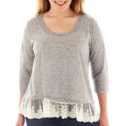 Arizona 3/4-Sleeve Lace-Hem Top - Plus