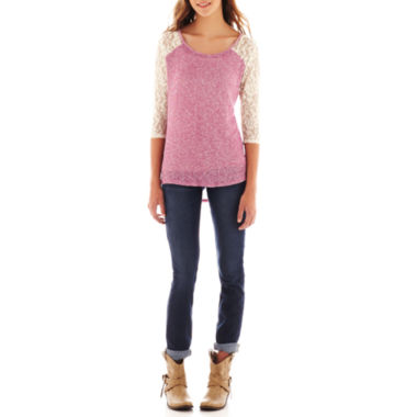 jcpenney.com | Arizona 3/4-Sleeve Lace Tee or 5-Pocket Skinny Jeans