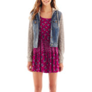 Arizona Sleeveless Mixed Floral Print Dress or Denim and Fleece Jacket