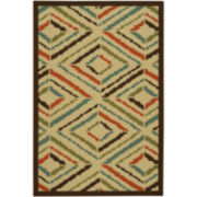 Line Diamond Washable Rectangular Rug