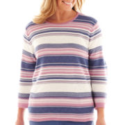 Alfred Dunner® Hillside Cottage 3/4-Sleeve Striped Sweater