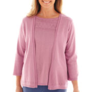 Alfred Dunner® Hillside Cottage 3/4-Sleeve Solid Cascade Layered Top