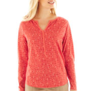 St. John's Bay® Raglan-Sleeve Y-Neck Top - Petite