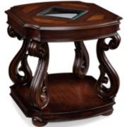"Baroque 24"" Square End Table with Glass Inlay"