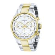 Swiss Eagle® Corporal Mens White Dial Two-Tone Stainless Steel Chronograph Watch SE-9034-44