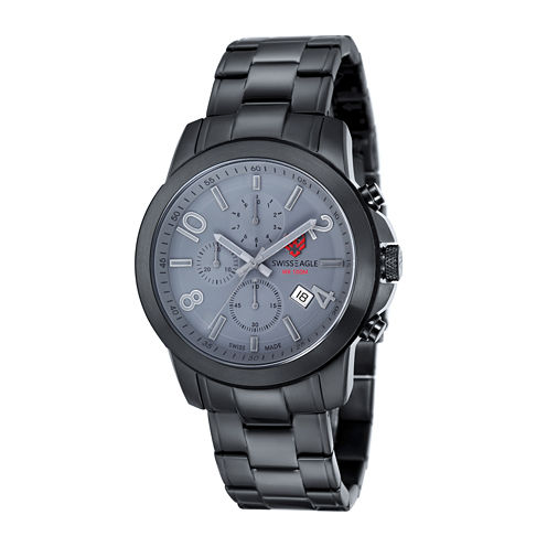 Swiss Eagle® Weisshorn Mens Gray Dial Black Stainless Steel Chronograph Watch SE-9054-88