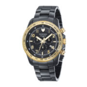 Swiss Eagle® Landmaster Mens Black Dial Black Stainless Steel Chronograph Watch SE-9044-55