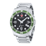 Swiss Eagle® Admiral Mens Black Dial Stainless Steel Watch SE-9007-33