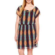 City Triangles® Sleeveless Tribal Print Chiffon Necklace Dress - Plus Size