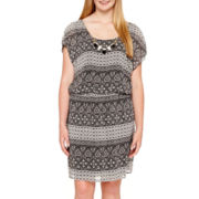City Triangles® Sleeveless Batik Chiffon Necklace Dress - Plus Size