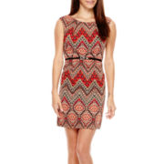 Alyx® Sleeveless Belted Print Sheath Dress - Petite