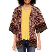 Liz Claiborne® 3/4-Sleeve Print Kimono - Tall