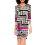 Tiana B. 3/4-Sleeve Tile Print Keyhole Knit Sheath Dress - Tall