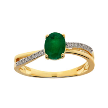 jcpenney.com | Genuine Emerald and Diamond-Accent 10K Gold Ring