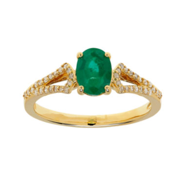 jcpenney.com | Genuine Emerald and 1/7 CT. T.W. Diamond 10K Gold Ring