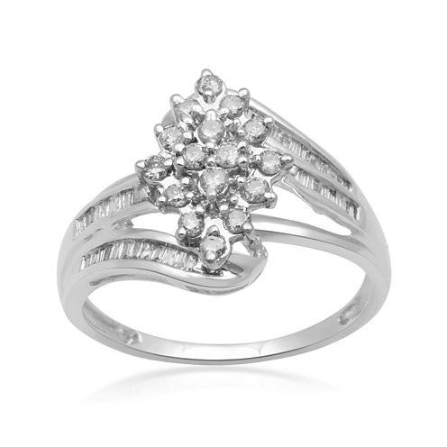 1/2 CT. T.W. Diamond 10K White Gold Cluster Ring