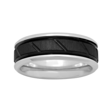 jcpenney.com |  Mens Cobalt and Black IP with Slant Center 8mm Comfort Fit Wedding Band