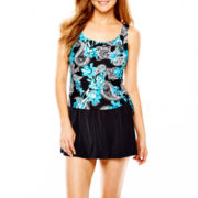 Azul by Maxine of Hollywood Faux Skirtini 1-Piece Swimdress