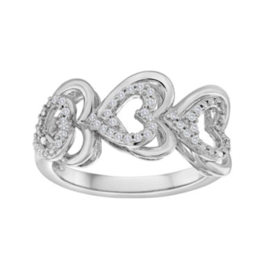 jcpenney.com | ForeverMine® 1/10 CT. T.W. Diamond Sterling Silver Triple-Heart Ring