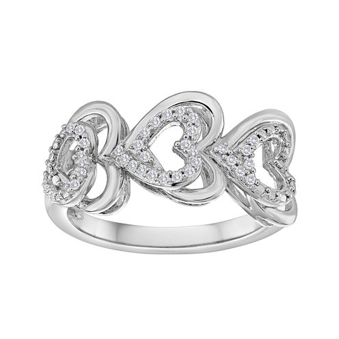 ForeverMine® 1/10 CT. T.W. Diamond Sterling Silver Triple-Heart Ring
