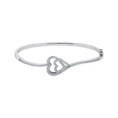 jcpenney.com | ForeverMine® 1/3 CT. T.W. Diamond Sterling Silver Double-Heart Bangle Bracelet