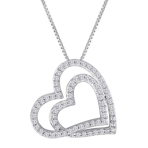 ForeverMine® 1/2 CT. T.W. Diamond Sterling Silver Double-Heart Pendant Necklace