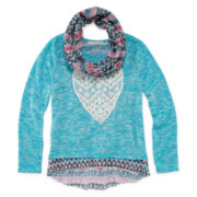 Self Esteem® Split-Back Top and Scarf - Girls 7-16