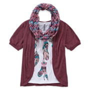 Knit Works Cardigan Tee and Scarf - Girls 7-16 and Plus