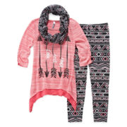 Knit Works Long-Sleeve Tee, Leggings and Scarf - Girls 7-16 and Plus