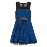 Knit Works Belted Chevron Dress - Girls 7-16