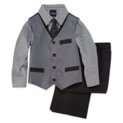 4-pc. Pieced Poplin Vest Set - Boys 4-10