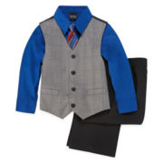4-pc. Glen Plaid Vest Set - Boys 4-10