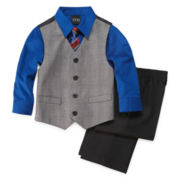 4-pc. Glen Plaid Vest Set - Boys 2t-5t