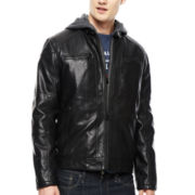 Levi's® Hooded Faux-Leather Racer Jacket