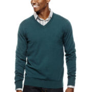 JF J. Ferrar® Solid V-Neck Sweater