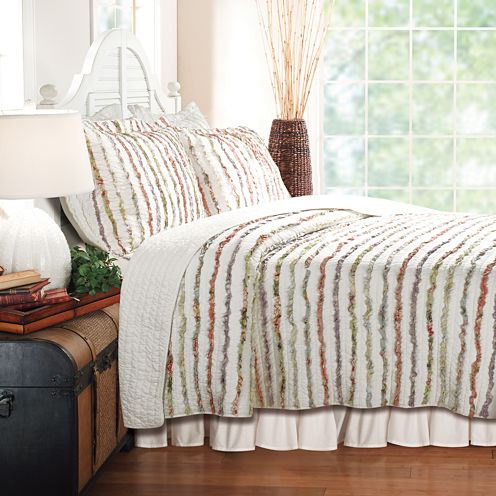 Greenland Home Fashions Bella Ruffle Stripe Quilt Set & Accessories