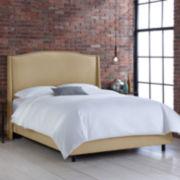 Geneva Linen Wingback Bed with Nailhead Trim