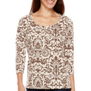 St. John's Bay® 3/4-Sleeve Print Knit Top - Petite